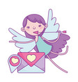 happy valentines day cupid with arrow letter love vector image