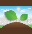 leaf with city background vector image vector image