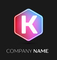 letter k logo symbol in colorful hexagonal vector image vector image