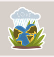 love planet tagline sticker cartoon vector image vector image