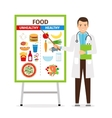 Nutritionist showing poster about food vector image vector image