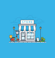 online store building on blue background vector image vector image