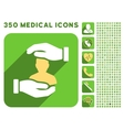 Patient Insurance Hands Icon and Medical vector image