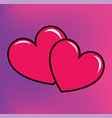 red hearts over halftone background vector image vector image
