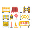 road repair barriers set safety barricade warning vector image vector image