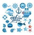sea set of ship sailboat sea gear sea creatures vector image