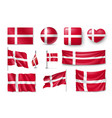 set denmark flags banners banners symbols flat vector image vector image