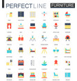 set of flat interior furniture icons vector image vector image