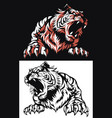 silhouette tiger roaring frontview isolated vector image vector image