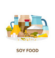 soy food background in flat style vector image vector image