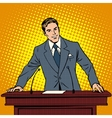 Speaker at the podium Lecture presentation vector image vector image