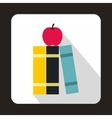 Stack of books and red apple icon flat style vector image vector image