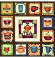Tea cups and pots frame hand drawn design vector image