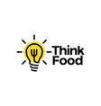 think food bulb fork logo icon vector image vector image