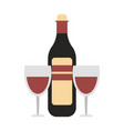wine bottle with cups vector image vector image
