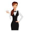 Woman casino dealer portrait vector image vector image