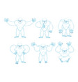 yeti set poses and motion bigfoot happy and yoga vector image