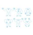 yeti set poses and motion bigfoot happy and yoga vector image
