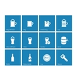 Beer and alcohol glasses icons on blue background vector image