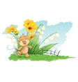cheerful bear with lilies and flowers vector image