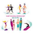 Surf School Decorative Elements Set vector image