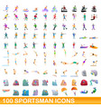 100 sportsman icons set cartoon style vector image vector image