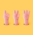 3d funny cartoon hands showing gestures vector image