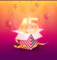 45 th years anniversary design element vector image vector image