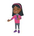 african little girl singing into a microphone vector image