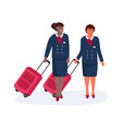 air hostess stewardess with luggage standing vector image vector image