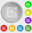 Barcode Icon sign Symbol on eight flat buttons vector image vector image