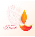 beautiful diwali decorative diya background vector image vector image