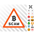 bitcoin scam warning icon with bonus vector image