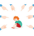 bullying of child girl sitting alone flat vector image vector image