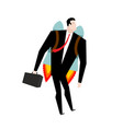 businessman jet pack manager is on rocket vector image
