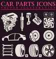 Car parts icons set auto service repair tool vector image