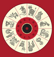 chinese zodiac wheel with twelve vector image