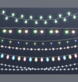 christmas glowing lights garlands vector image vector image