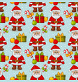 christmas seamless background with santa pattern vector image