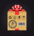 christmas shipping gift box vector image