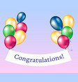congratulations banner with balloons vector image
