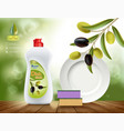 dishwashing liquid soap with olive vector image vector image