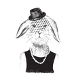 dressed up bunny girl in hipster style vector image vector image