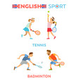 english sport boys and girls playing tennis set vector image