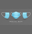 face mask medical blue template front and side vector image vector image