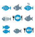 Fish fish on plate skeleton icons vector image vector image