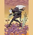 five swords tarot card vector image