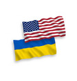 flags ukraine and america on a white background vector image