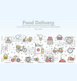 food delivery advertising flat line art vector image vector image