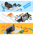 Graphic Design Isometric Banners Set vector image vector image